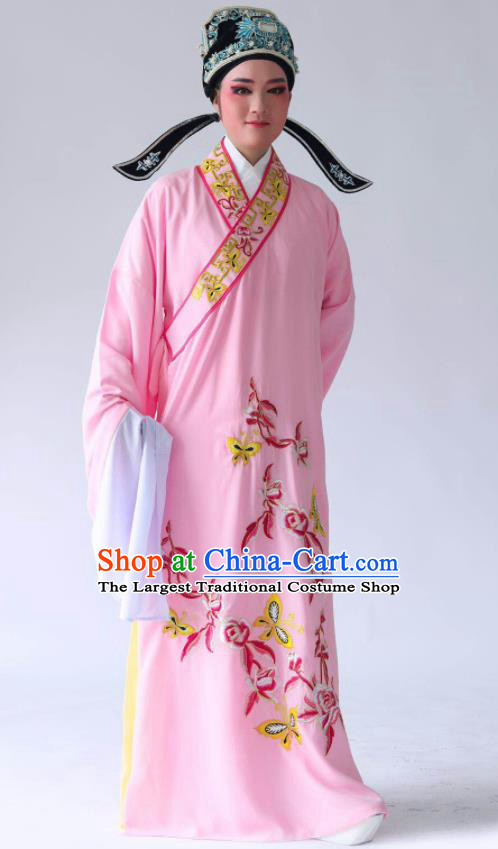 Chinese Traditional Beijing Opera Embroidered Peony Butterfly Pink Robe Ancient Scholar Costume for Men