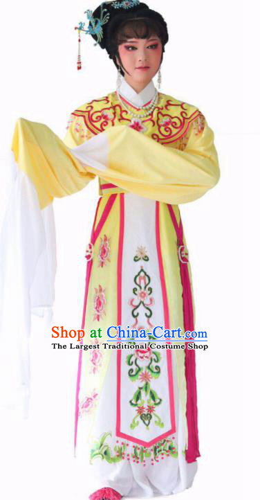 Chinese Traditional Peking Opera Princess Yellow Dress Ancient Imperial Consort Costume for Women