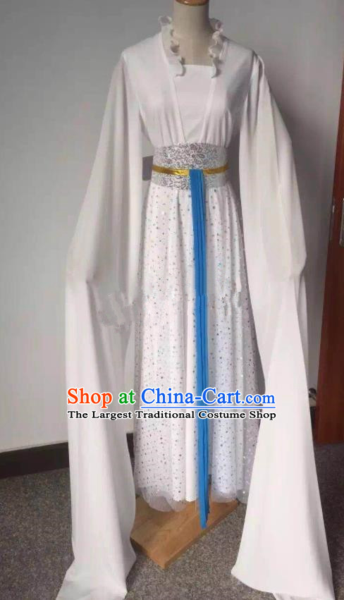 Chinese Traditional Peking Opera White Dress Ancient Young Lady Costume for Women