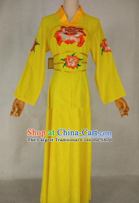 Chinese Traditional Peking Opera Young Lady Yellow Dress Ancient Servant Girl Costume for Women