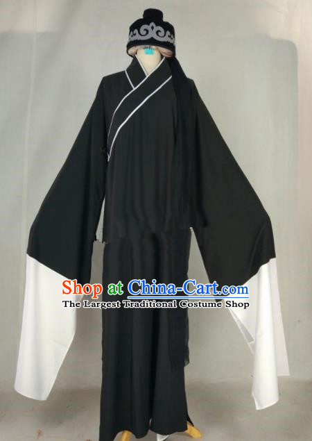 Chinese Traditional Beijing Opera Niche Liang Shanbo Black Robe Ancient Scholar Costume for Men