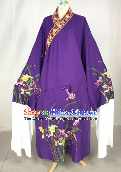 Chinese Traditional Beijing Opera Niche Embroidered Orchid Purple Robe Ancient Number One Scholar Costume for Men