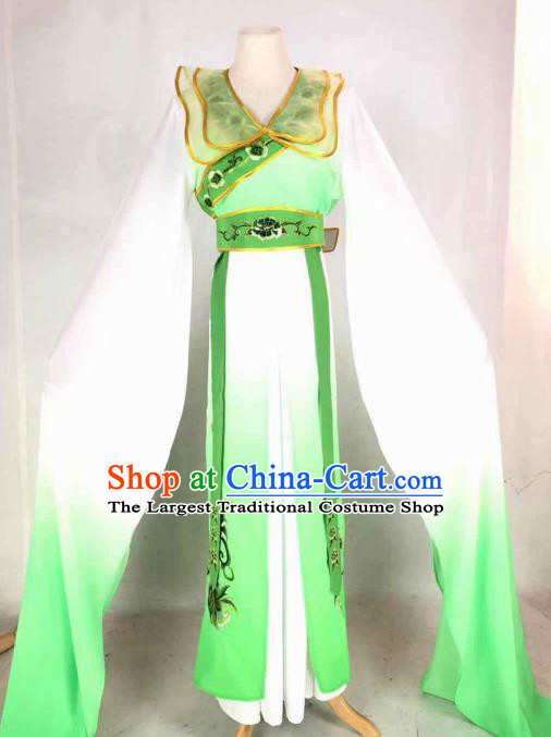 Chinese Traditional Peking Opera Actress Green Dress Ancient Peri Costume for Women