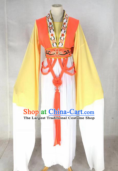 Chinese Traditional Peking Opera Actress Court Lady Orange Dress Ancient Palace Maid Costume for Women