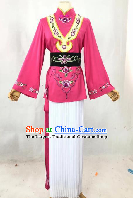 Chinese Traditional Peking Opera Actress Maidservant Rosy Dress Ancient Country Lady Costume for Women