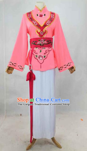 Chinese Traditional Peking Opera Actress Maidservant Pink Dress Ancient Country Lady Costume for Women