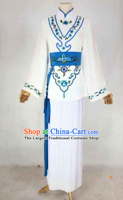 Chinese Traditional Peking Opera Actress Maidservant White Dress Ancient Country Lady Costume for Women