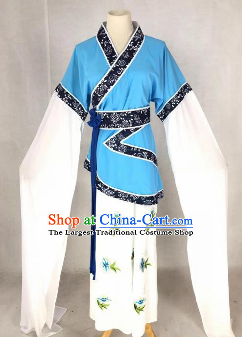 Chinese Traditional Peking Opera Actress Blue Dress Ancient Maidservant Country Lady Costume for Women