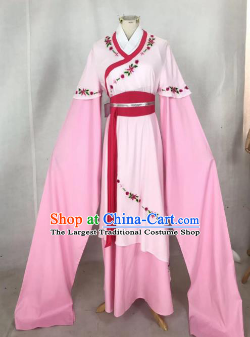 Chinese Traditional Peking Opera Actress Hua Tan Pink Dress Ancient Maidservant Costume for Women