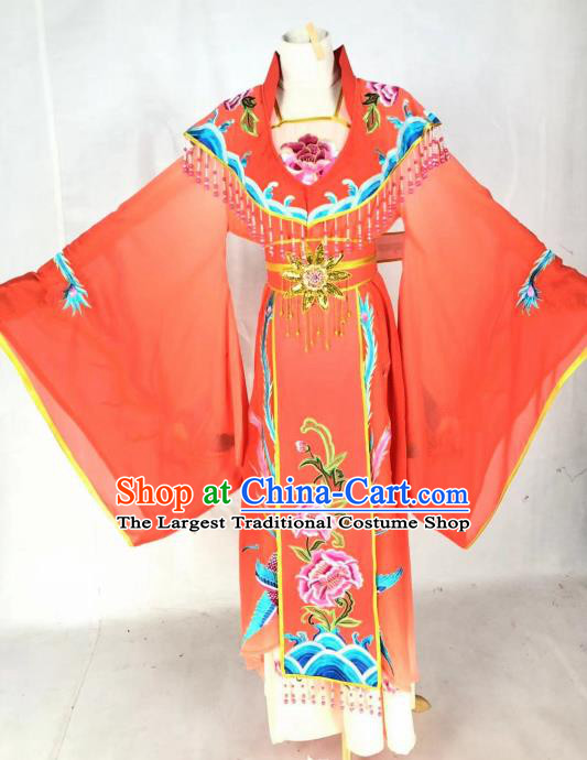 Chinese Traditional Peking Opera Actress Empress Red Dress Ancient Court Queen Costume for Women
