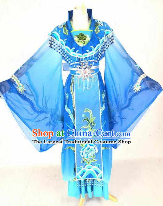 Chinese Traditional Peking Opera Actress Empress Blue Dress Ancient Court Queen Costume for Women