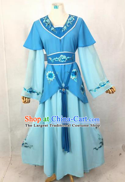 Chinese Traditional Peking Opera Country Lady Blue Dress Ancient Servant Girl Costume for Women