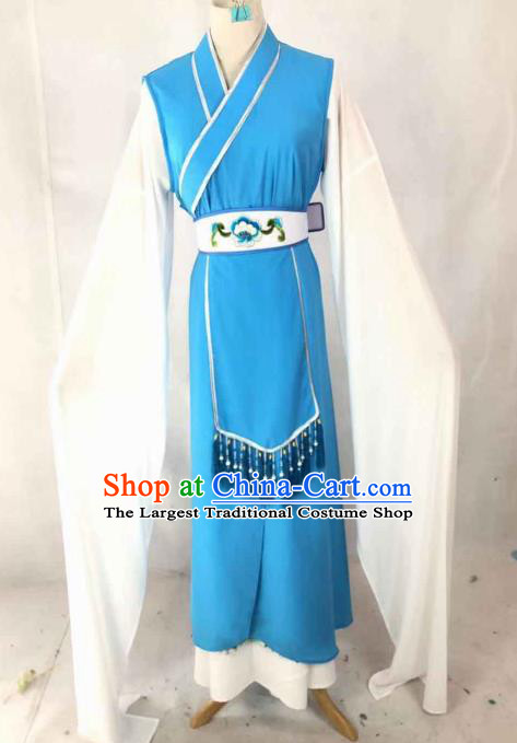 Chinese Traditional Peking Opera Palace Lady Blue Dress Ancient Servant Girl Costume for Women