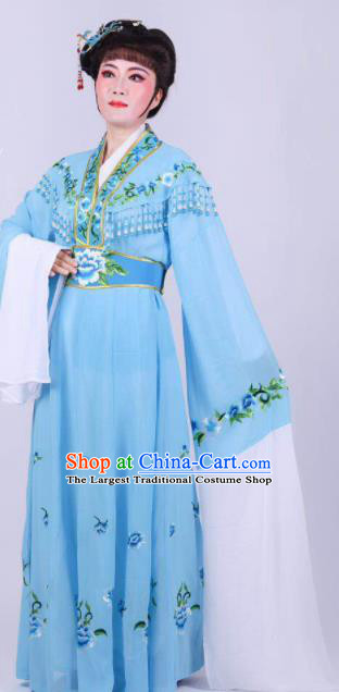 Chinese Traditional Peking Opera Actress Rich Lady Blue Dress Ancient Royal Princess Costume for Women