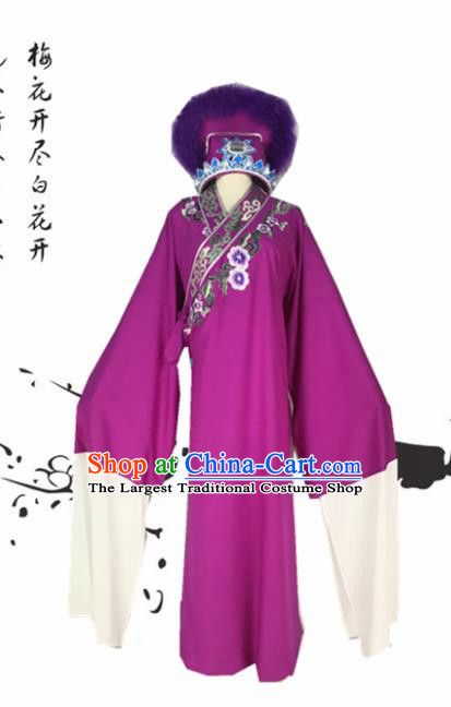 Chinese Traditional Beijing Opera Niche Xu Xian Purple Robe Ancient Number One Scholar Costume for Men