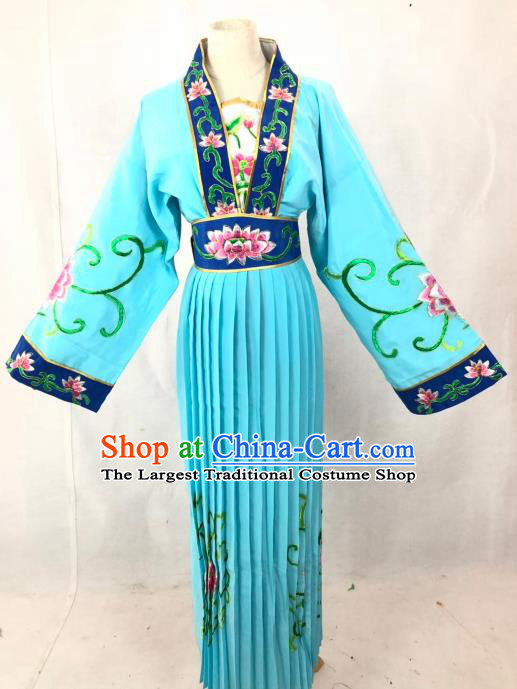 Chinese Traditional Peking Opera Actress Court Maid Blue Dress Ancient Taoist Nun Costume for Women