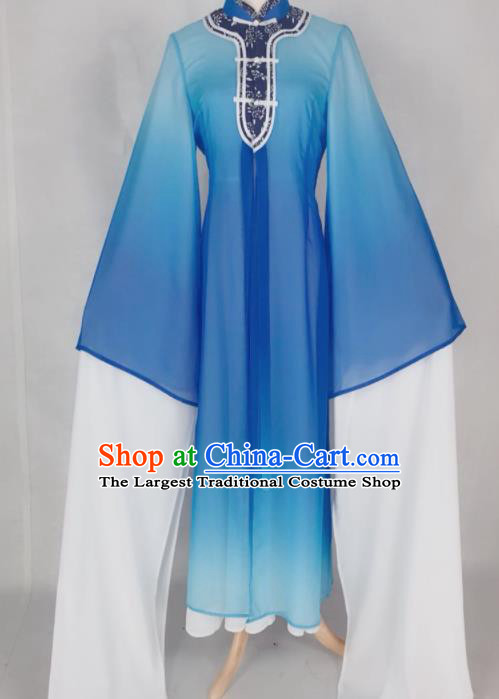Chinese Traditional Peking Opera Actress Qin Xianglian Blue Dress Ancient Countess Costume for Women
