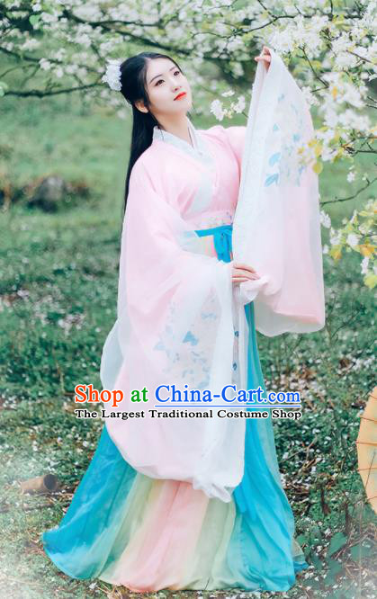 Asian Chinese Jin Dynasty Royal Princess Hanfu Dress Traditional Ancient Goddess Court Lady Costumes for Women