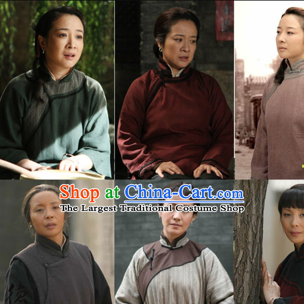 Traditional Chinese Minguo Period Poor People Costume Farmer Costumes Chinese Civilian Costumes for Women