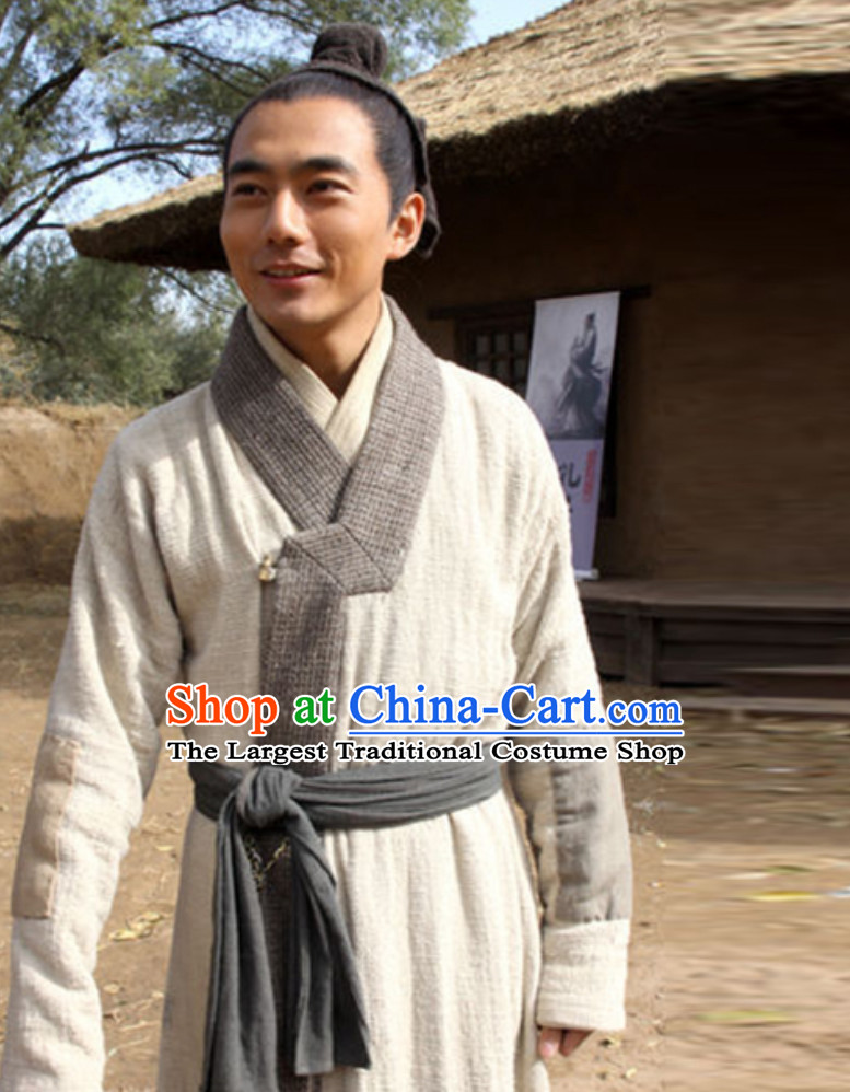 Asian Chinese Traditional China Male Civilian Costumes Common People Hanfu Costumes for Men