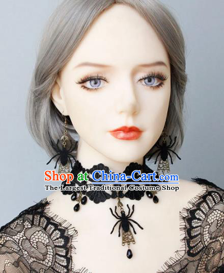 Handmade Halloween Cosplay Gothic Necklace Fancy Ball Black Lace Necklet Accessories for Women