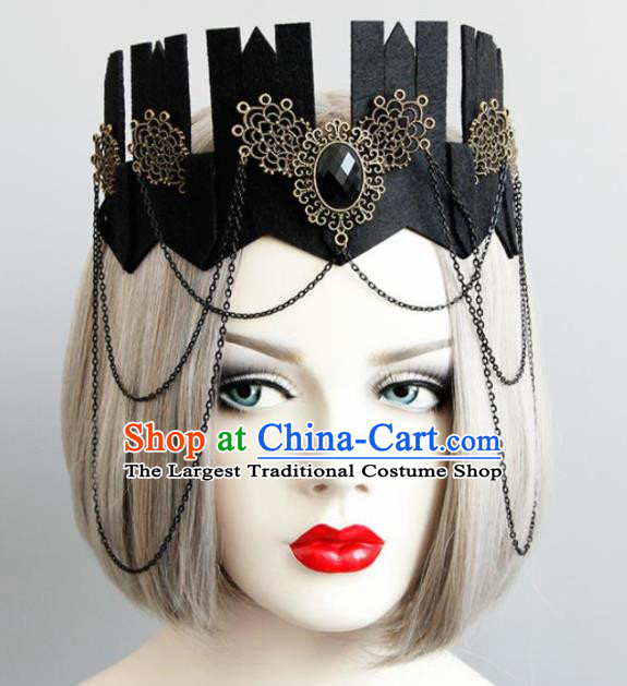 Top Grade Gothic Queen Black Royal Crown Halloween Cosplay Fancy Ball Handmade Hair Accessories for Women