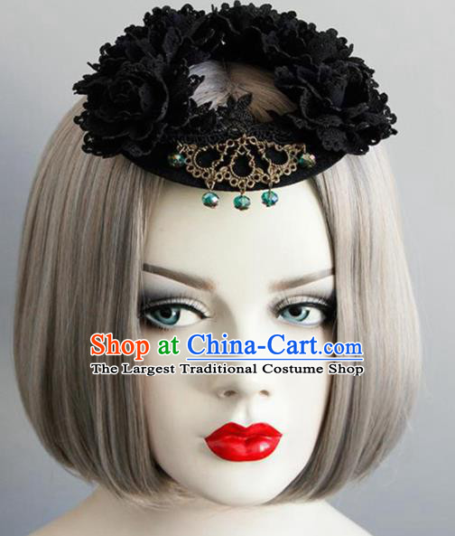Top Grade Gothic Queen Black Top Hat Halloween Cosplay Fancy Ball Handmade Hair Accessories for Women