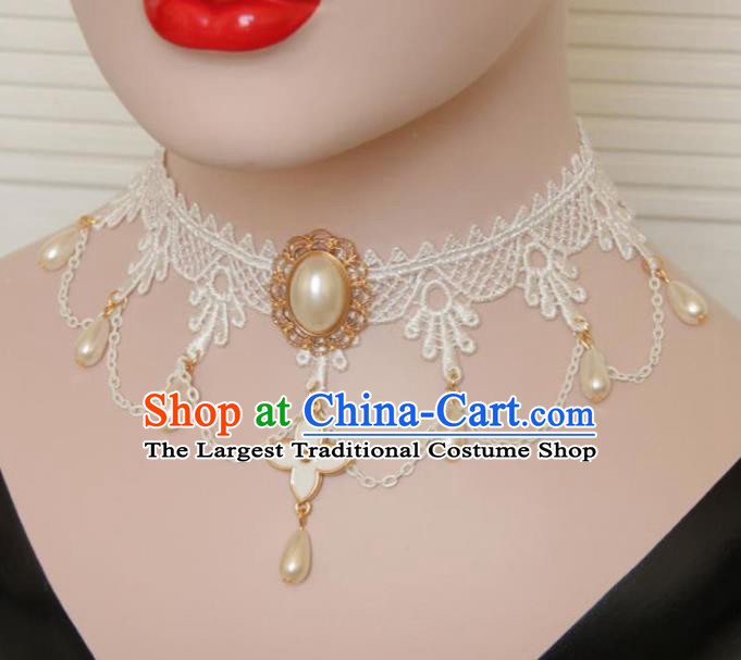 Handmade Halloween Cosplay Gothic Princess White Lace Necklace Fancy Ball Pearls Necklet Accessories for Women