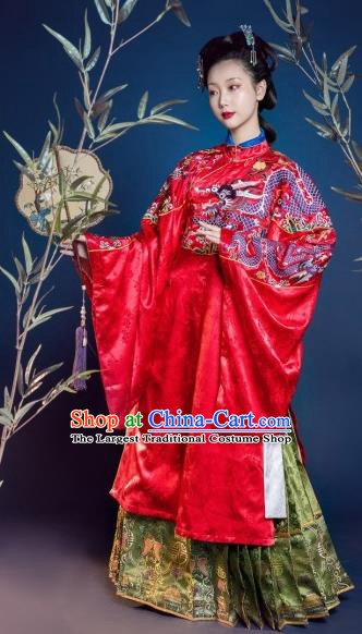 Traditional Chinese Ming Dynasty Court Countess Red Hanfu Dress Ancient Imperial Empress Wedding Costumes for Women