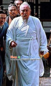 Chinese Ancient Eastern Han Dynasty Famous Doctor Hua Tuo White Costumes Complete Set
