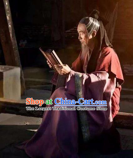 Chinese Ancient Western Han Dynasty Historian Litterateur Sima Qian Costumes Complete Set