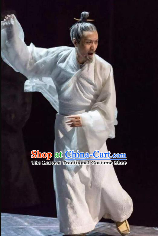 Chinese Ancient Western Han Dynasty Historian Litterateur Sima Qian White Costumes Complete Set
