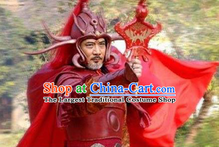 Chinese Ancient Mythology Fire God Zhu Rong Chongli Red Costumes Complete Set