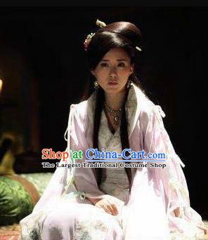 Chinese Ancient Mythology Goddess Sunv Pink Hanfu Dress New Stone Age Court Princess Complete Set