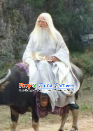 Chinese Ancient Spring and Autumn Period Philosopher Laozi Writer Lao Tzu White Costumes Complete Set