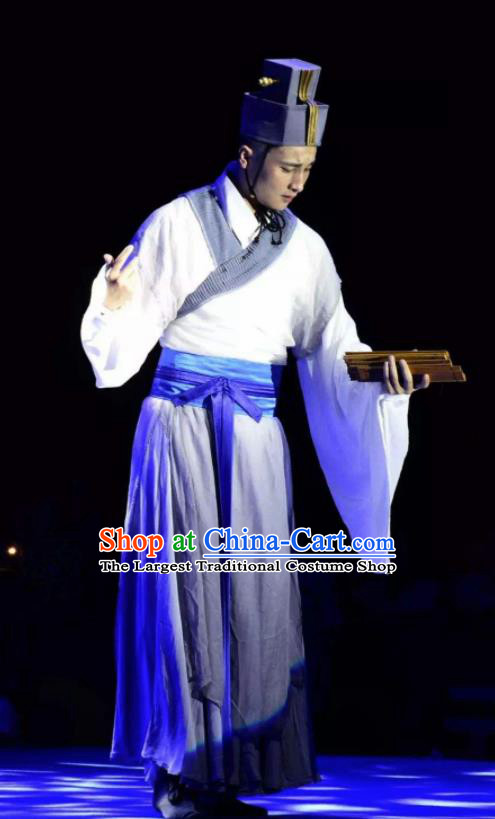 Chinese Ancient Eastern Han Dynasty Minister Cai Lun White Hanfu Costumes Complete Set