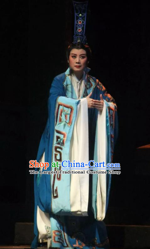 Chinese Ancient Warring States Period Minister Han Fei Blue Hanfu Clothing Philosopher Han Feizi Hanfu Costumes Complete Set