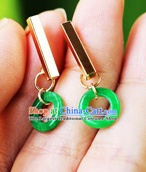 Chinese Traditional Hanfu Jade Ring Ear Accessories Ancient Qing Dynasty Princess Earrings for Women