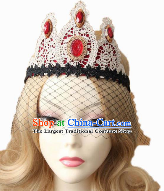 Handmade Halloween Cosplay White Lace Headwear Fancy Ball Stage Show Royal Crown for Women