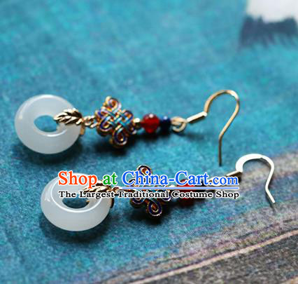 Chinese Traditional Hanfu White Jade Ring Ear Accessories Ancient Qing Dynasty Princess Earrings for Women