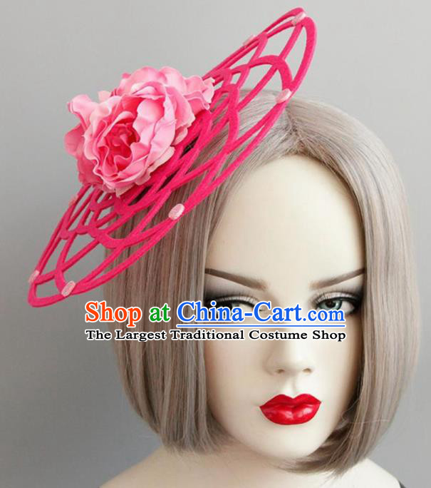 Halloween Handmade Cosplay Queen Pink Peony Top Hat Fancy Ball Stage Show Headwear for Women