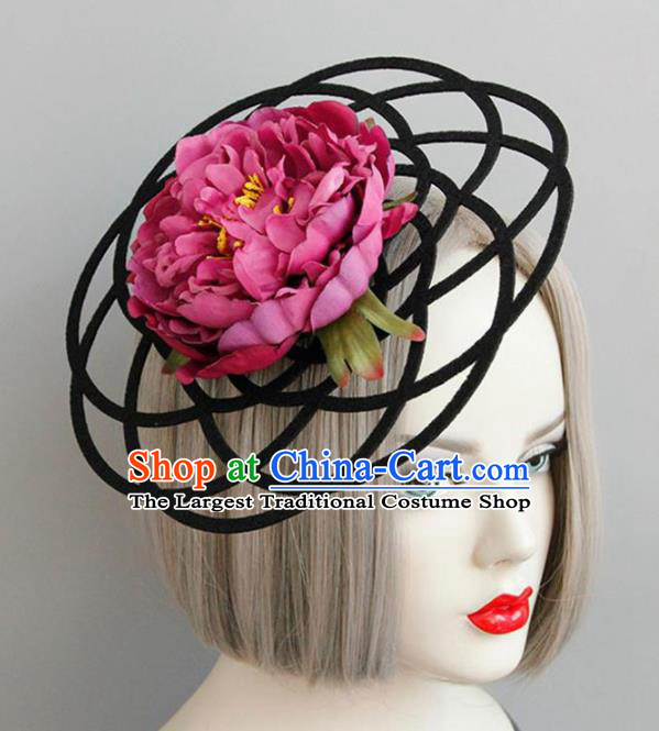 Halloween Handmade Cosplay Queen Amaranth Peony Top Hat Fancy Ball Stage Show Headwear for Women