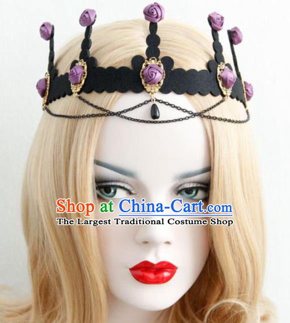 Halloween Handmade Cosplay Queen Purple Silk Roses Royal Crown Fancy Ball Stage Show Headwear for Women