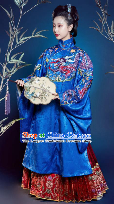 Traditional Chinese Ming Dynasty Countess Replica Costumes Ancient Court Queen Royalblue Silk Hanfu Dress for Women