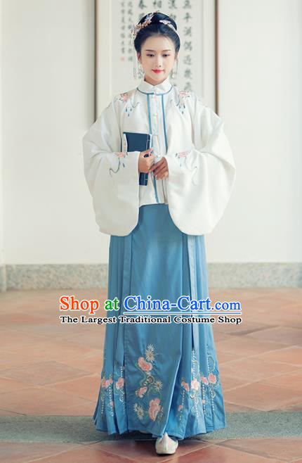 Traditional Chinese Ancient Ming Dynasty Aristocratic Rich Lady Replica Costumes White Blouse and Blue Skirt for Women