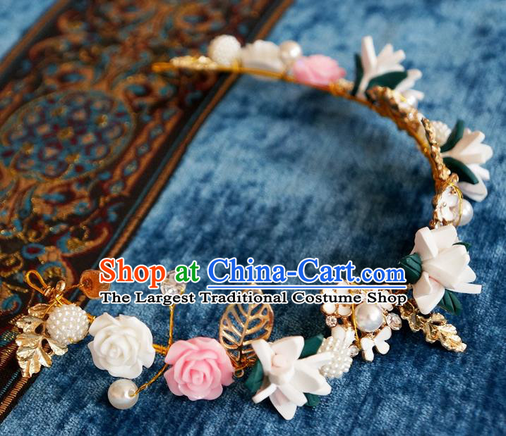 Chinese Ancient Ming Dynasty Princess Ceramics Hair Clasp Hairpins Traditional Hanfu Court Hair Accessories for Women