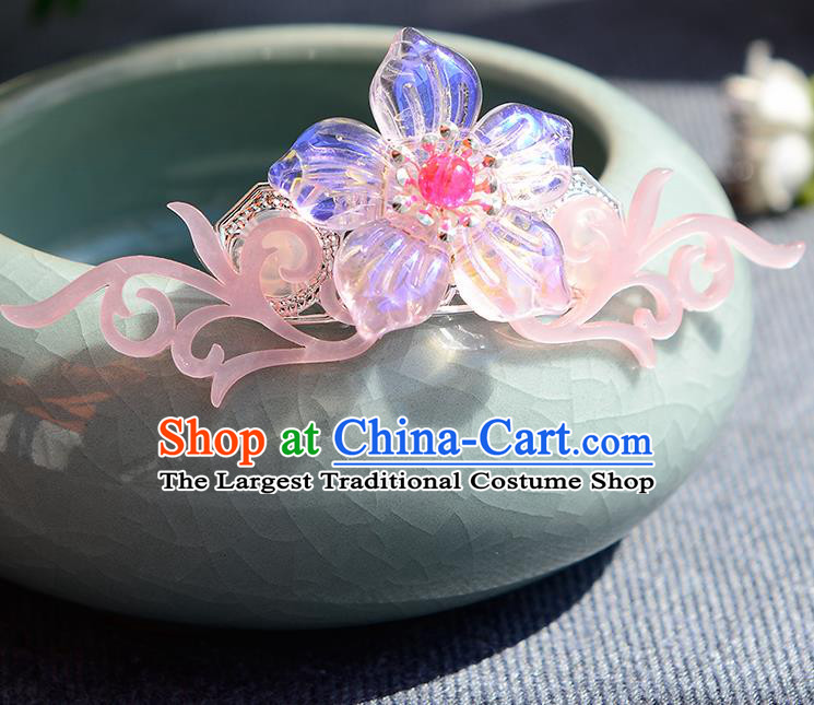 Chinese Ancient Ming Dynasty Princess Pink Hair Crown Hairpins Traditional Hanfu Court Hair Accessories for Women