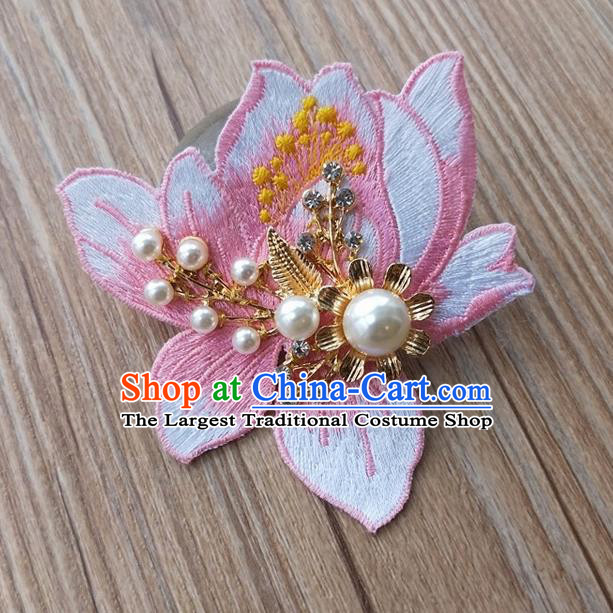 Chinese Traditional Hanfu Embroidered White Magnolia Brooch Pendant Ancient Cheongsam Breastpin Accessories for Women