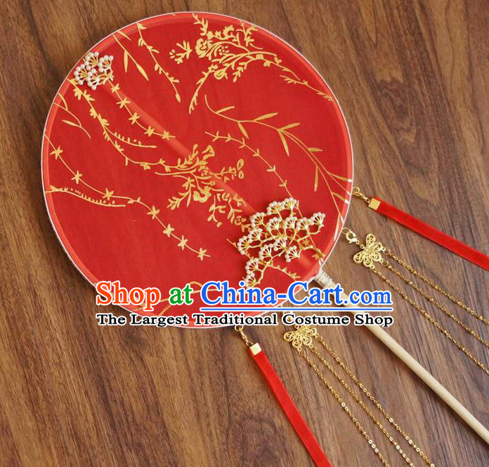 Chinese Traditional Hanfu Wedding Red Ribbon Palace Fans Ancient Princess Silk Round Fan for Women