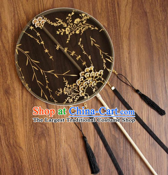 Chinese Traditional Hanfu Ribbon Tassel Black Pine Palace Fans Ancient Princess Silk Round Fan for Women